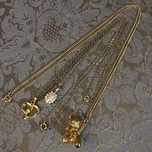 Three Vintage Necklaces w/Rhinestones & Teddy Bear